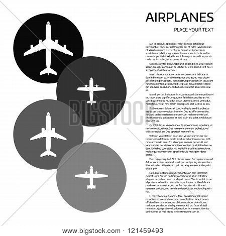 Top view airplanes vector icon set. Different airplane silhouette collection. Modern airliners set. Jet and propellers airliners on white background. Document template with sample text and air crafts.
