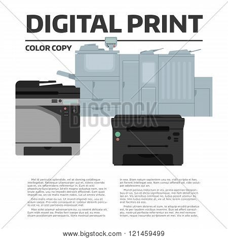 Printing equipment. Color printer collection with sample text. Copy, print and scan machine. Vector press industry illustration. Advertising, brochure, presentation design. Modern digital equipment.