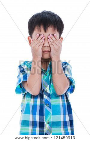 Portrait of asian handsome boy covering his eye. Isolated on white background. Negative human emotion, facial expression feeling reaction. Studio shot.