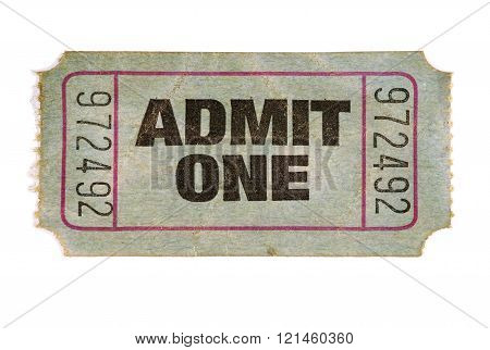 Old stained torn admit one ticket, white background