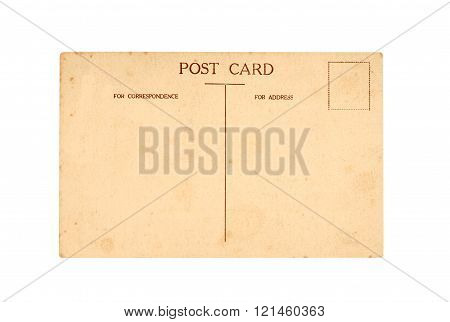 Old post card isolated on white background