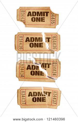 Several Old Torn And Stained Admit One Movie Tickets