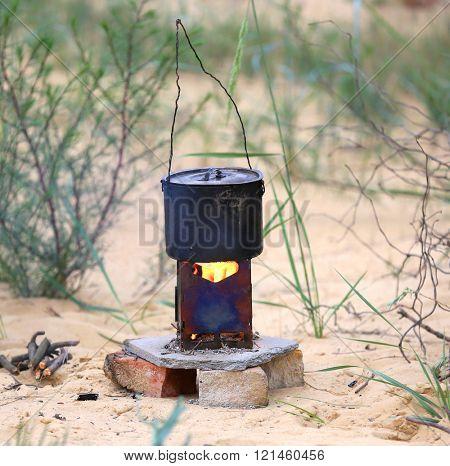tourist kettle on portable heater