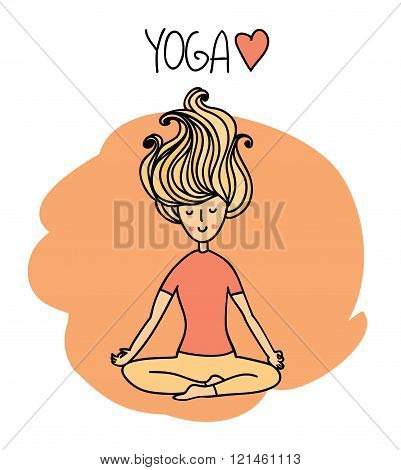 Yoga poses and asanas. Cute woman performs yoga asanas.Vector hand drawn illustration