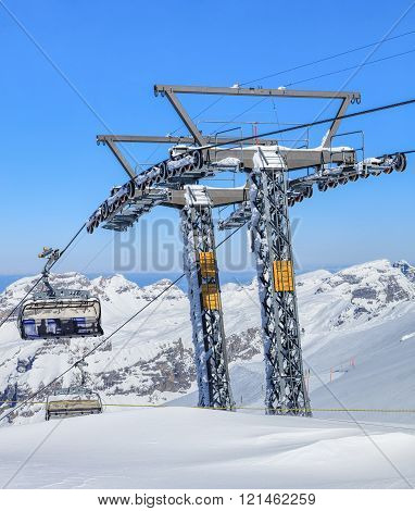 Ice Flyer Ski Lift On Mt. Titlis In Switzerland