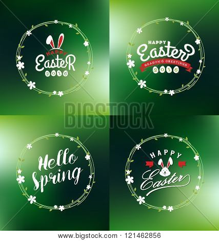 Easter and Spring seasonal decorative ornaments design with typography lettering and foral wreath. Vector illustration