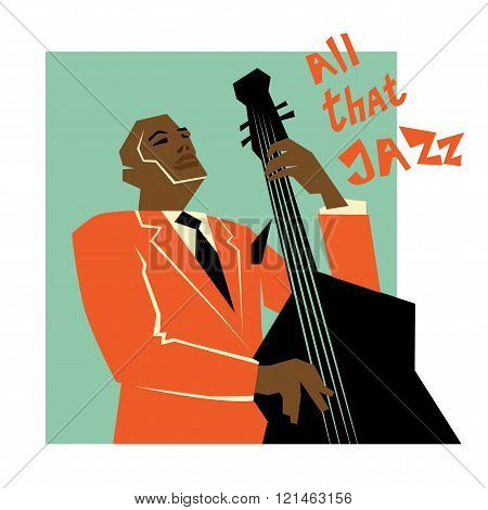 Retro  jazz music concept, double bass man