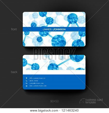 Business card vector template with DNA molecule background