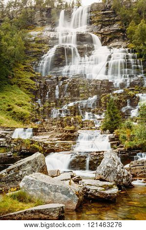 Famous Tvindefossen Waterfall in Norway. Amazing and beautiful v