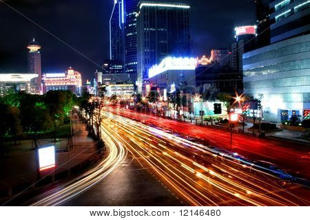 a street of shanghai on the night