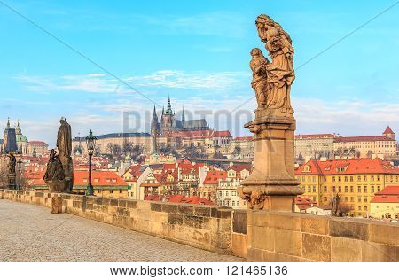 View Onto Prague Castle From Charles Bridge