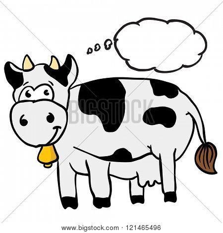 cow with thought bubble cartoon