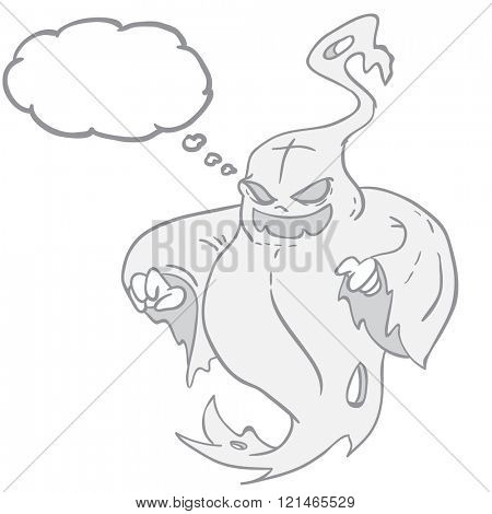 fat evil ghost with thought bubble cartoon