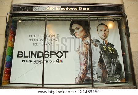 NBC Experience Store window display decorated with Blindspot television event logo