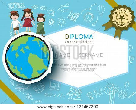 Kids diploma preschool certificate elementary school design template background. vector illustrator