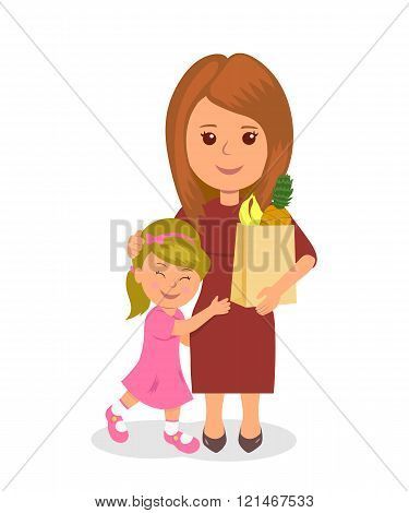 Mother and baby shopping. Concept infographics proper nutrition