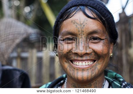 Chin tribe tattooed faced woman (Muun)