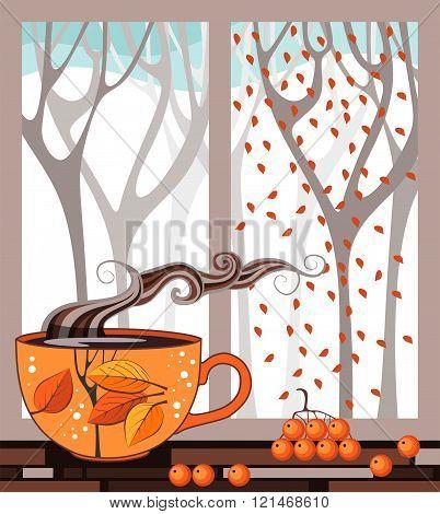 Autumn Teatime. Cup Of Tea On The Window Sill On The Background Of Autumn Forest Out The Window. Vec