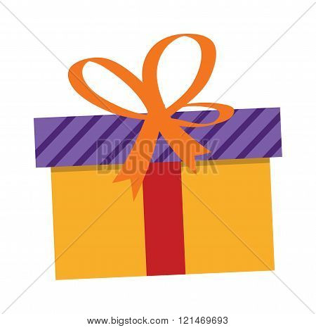 Gft holiday box for birthday with ribbon flat vector icon