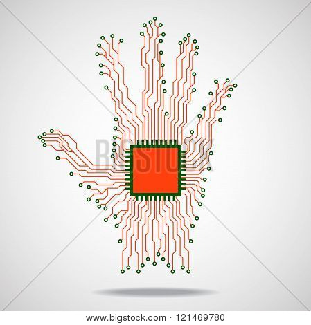 Hand. Cpu. Circuit board