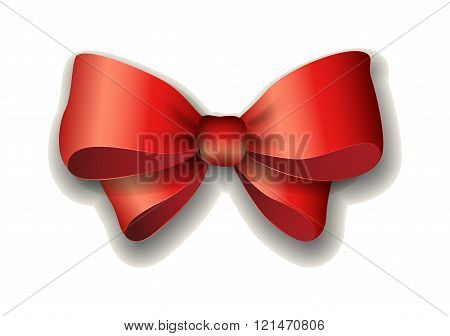 Red ribbon bow vector illustration isolated on white background.