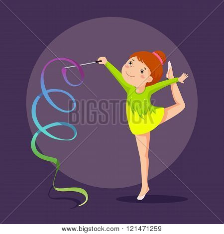 Little Girl Gymnast Performing With Ribbon