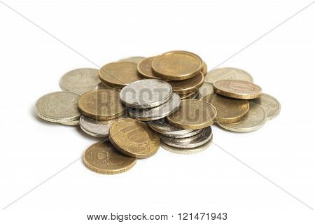 Big pile of coins isolated on white background. Russian rouble