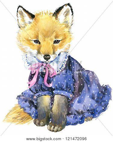 Cute little fox. Watercolor fox. Fox. Fox T-shirt graphics, for fashion print, poster for textiles,