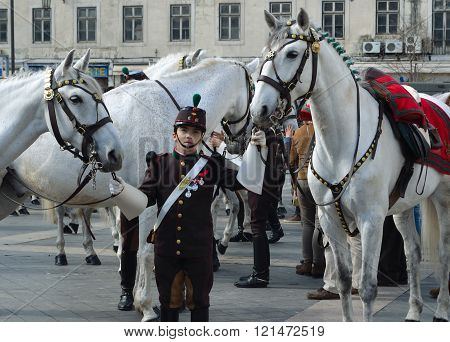Cavalry Regiment with Lusitano White Horses on Praca da Figueira Lisbon Portugal'