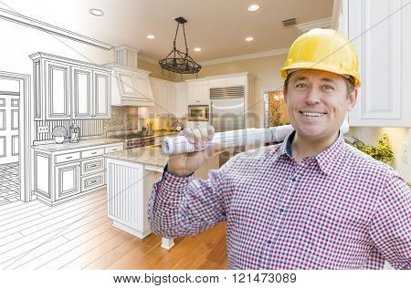 Smiling Contractor in Hard Hat with Roll of Plans Over Custom Kitchen Drawing and Photo Combination.