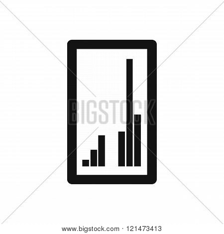 Tablet with charts icon, simple style