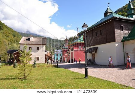 SOCHI, RUSSIA - OCTOBER 05 2015 View of the building symbolizes the Suzdal Krasnaya Polyana Sochi Russia.CULTURAL - ETHNOGRAPHIC CENTER MY RUSSIA ROSE FARM