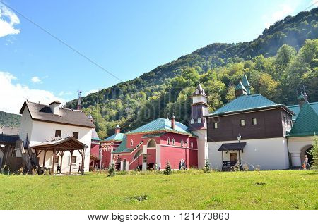 SOCHI, RUSSIA - OCTOBER 05 2015 View of the building symbolizes the Central Russia Krasnaya Polyana Sochi Russia.CULTURAL - ETHNOGRAPHIC CENTER MY RUSSIA ROSE FARM