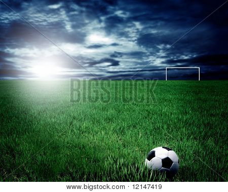 a soccer ball in a stadium