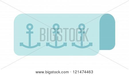 Beach towel vector summer bath accessory isolated on white background.