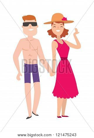 Couple beach man and woman cartoon illustration.