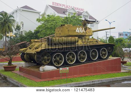 Soviet tank T-34-85 in Da Nang, Vietnam. The monument of the Vietnam war