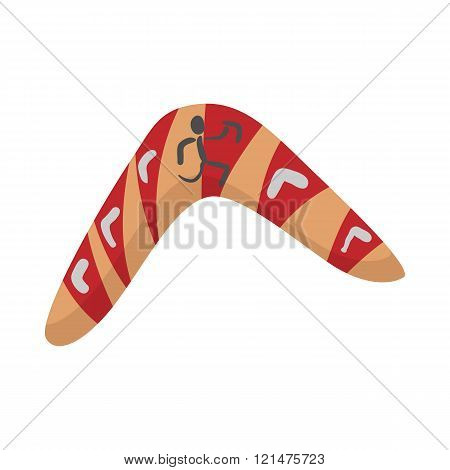 Australian boomerang icon, cartoon style
