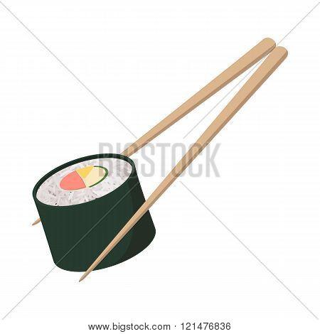 Sushi roll icon, cartoon style