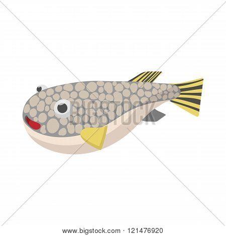 Fugu fish icon, cartoon style