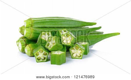 Okra isolated on the white backgroud