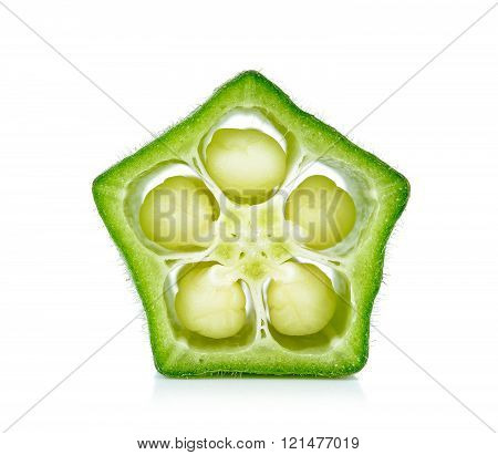Sliced Okra Isolated On The White Backgroud