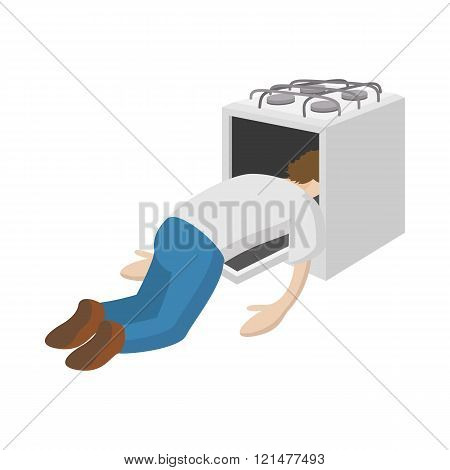 A man put his head in the oven icon, cartoon style