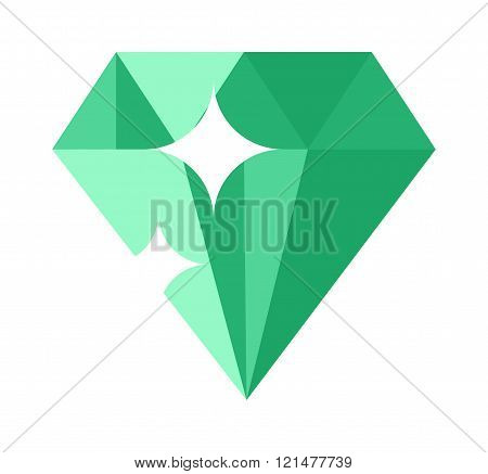 Flat design of Green  gemstone illustration.