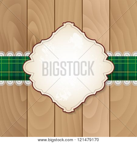 Retro Banner On Checkered Tablecloth With Lace