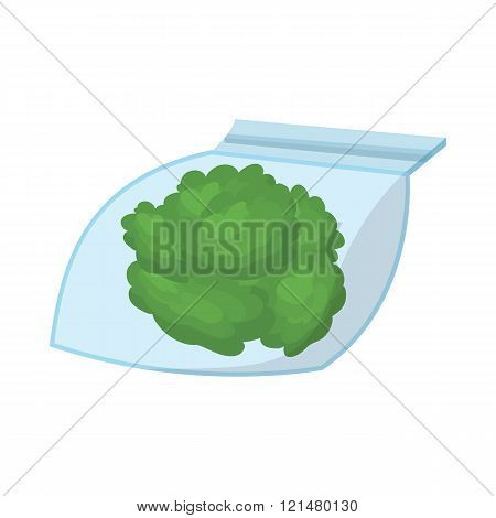 Small bag with buds of medical marijuana icon