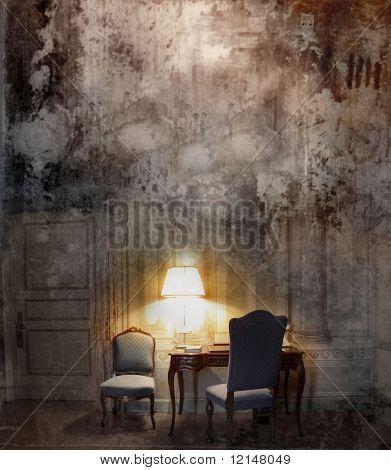 eine Komposition mit einem Sprung-Hintergrund und einer barocken Innenausstattung