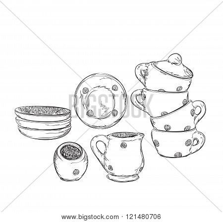 Hand drawn plate and cup. Dishwares sketch