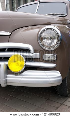 Retro headlight of vintage car