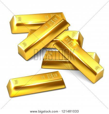 Several Golden Bricks On White Background